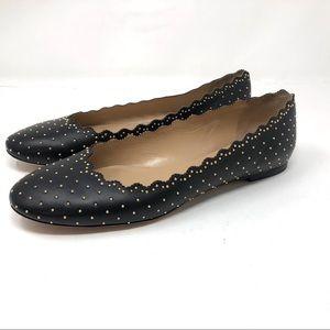 🆕CHLOÉ Lauren black leather flats, gold rivets